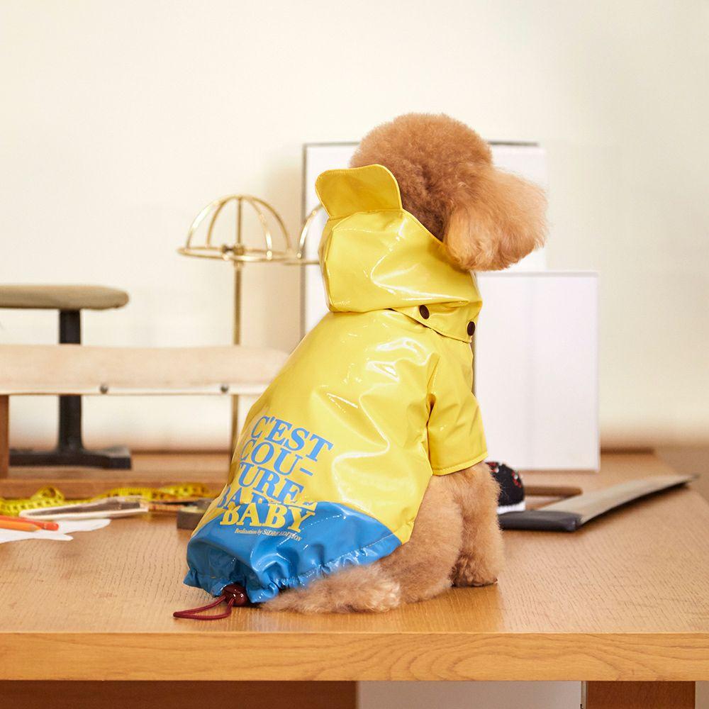 C'EST COUTURE BABY Patent Raincoat Yellow × Sky Blue × Burgundy
